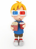 3d render of a kid with 3d glass, popcorn and drinks