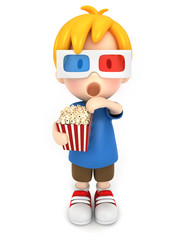 3d render of a kid with 3d glass and popcorn