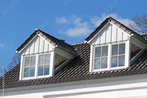 Giebelgauben mit Sprossenfenstern