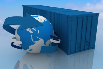 container  with globe on sky background