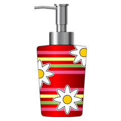 Colorful soap dispenser isolated over white background
