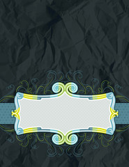 background of crumple paper with decorative label