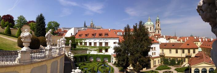 Panorama of Vrtba garden in Prague in spring