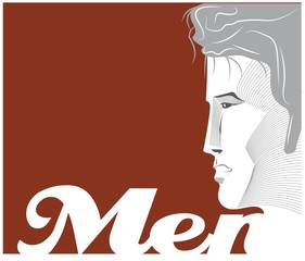 Young mans profile - vintage poster