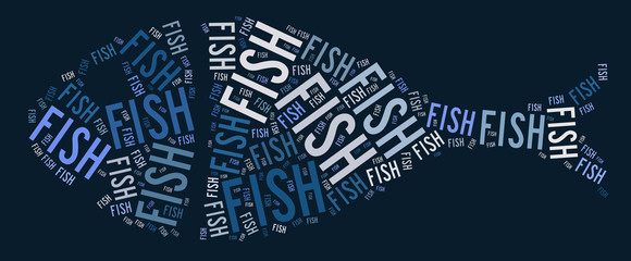 Fish text graphic and arrangement concept