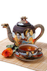 Teaset, Tea Cup with Teapot and Rose