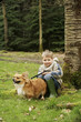 Boy and pet dog