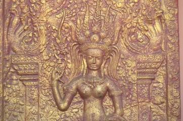Apsara's stucco in Phnom temple, Phnom Penh, Cambodia
