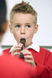 Boy playing the recorder