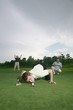 Man trying to blow golf ball into the hole with friends watching in the background