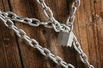 closed lock with a chain