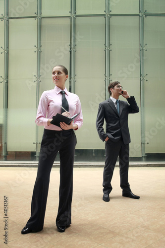 Businesswoman writing on organizer, businessman talking on the phone