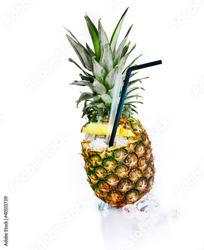 Fresh pineapple with ice and tubules