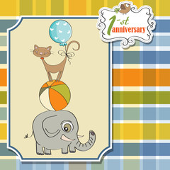 first anniversary card with pyramid of animals