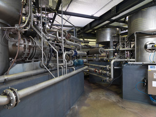pipe system in a modern factory