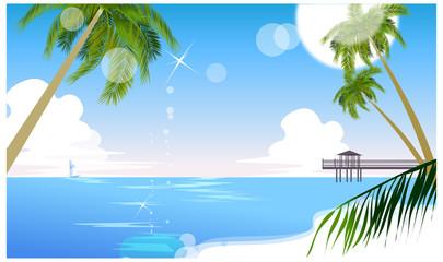 Idyllic beach with palm tree