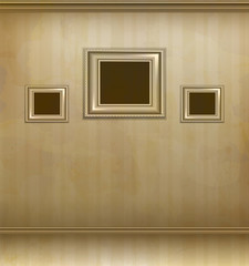 vector retro room with three frames for pictures on the wall