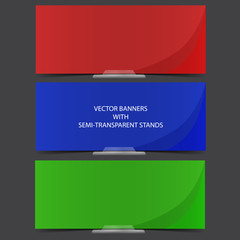 Three colored banners with semitransparent stands. Background an