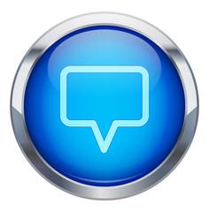 Metalik çerçeveli konuşma balonu ikonu
