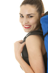 smiling backpacker young woman