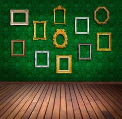 vintage frame in green wallpaper room