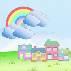 house from recycle paper with grass field rainbow background