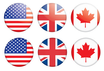 set of three badges with flags vector illustration