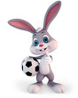 Cute easter bunny carrying a football