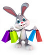 Easter bunny with shopping bags