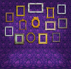 vintage frame in purple wallpaper room