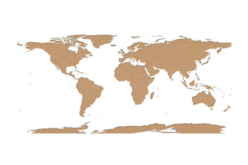 world map recycled paper on white background, Data source: NASA