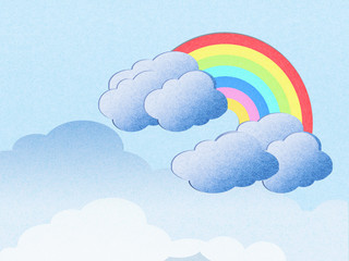 recycle paper cloud and rainbow background