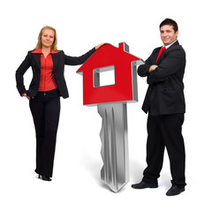 3d Red Home key - House - Business people
