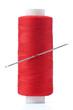 Leinwanddruck Bild - Spool of thread and needle  isolated on white background