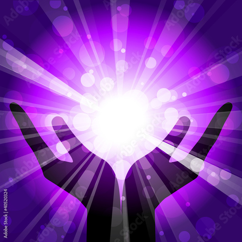 Vector illustration of hands with light