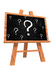 blackboard with question signs