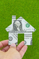 banknote house icon concept