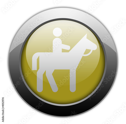 "Yellow Metallic Orb Button ""Horse Trail"""