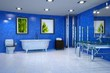 Large Bathroom in Blue and White