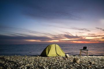 Camp at sunset