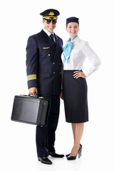 The pilot and stewardess