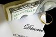 torn divorce decree and cash, with broken wedding ring