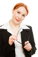 Businesswoman in glasses with red hair