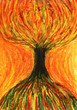 Yellow orange tree. Art painting