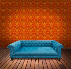 Sofa in yellow wallpaper room