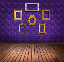 vintage frame in purple wallpaper room