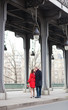 Romantic couple kissing on the Bir-Hakeim bridge
