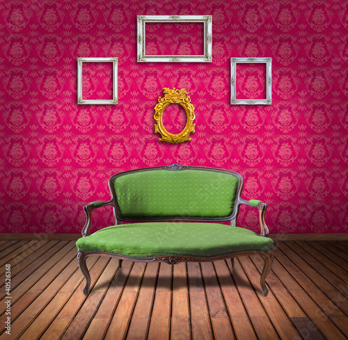 vintage luxury armchair and frame in pink wallpaper room