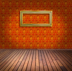 vintage frame in yellow wallpaper room
