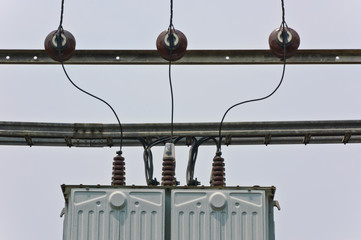 Electrical transformer station with powerlines